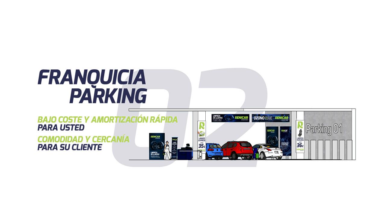 Diseño 3D de planta de parking con centro de lavado premium para vehículos