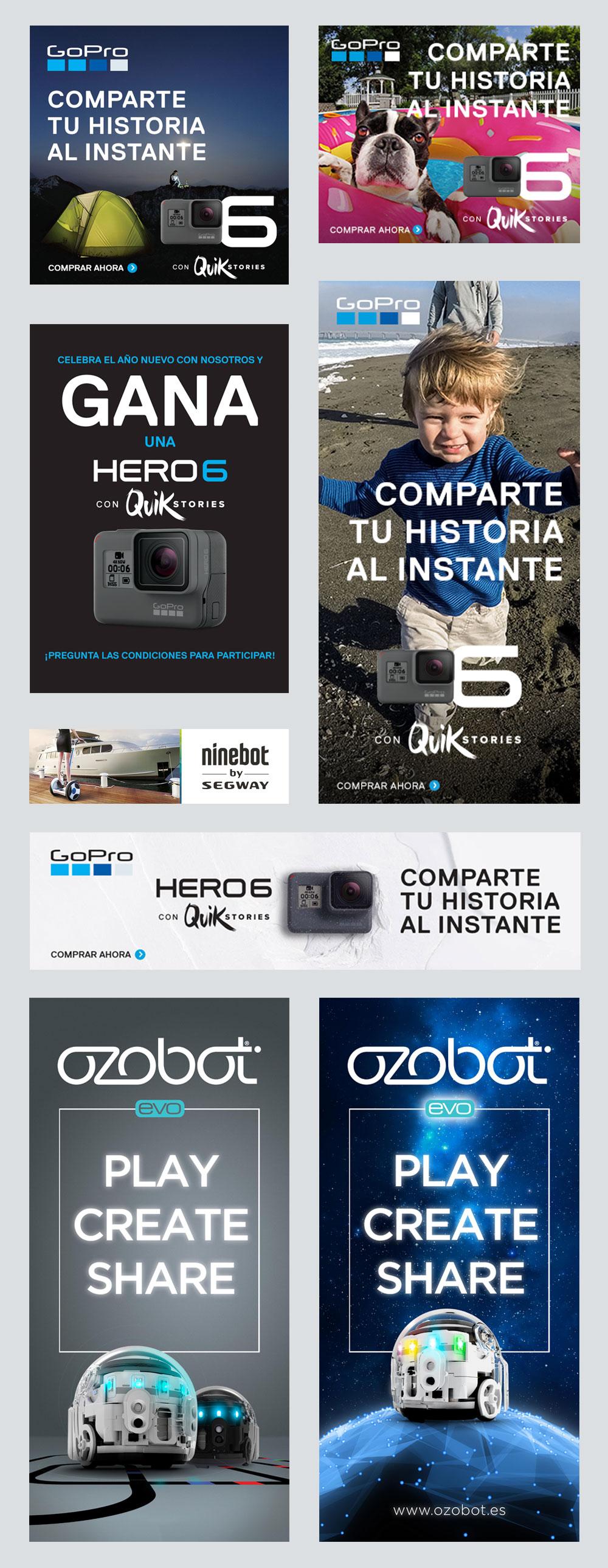 Ejemplos de diseño gráfico para GoPro, Segway y Ozobot