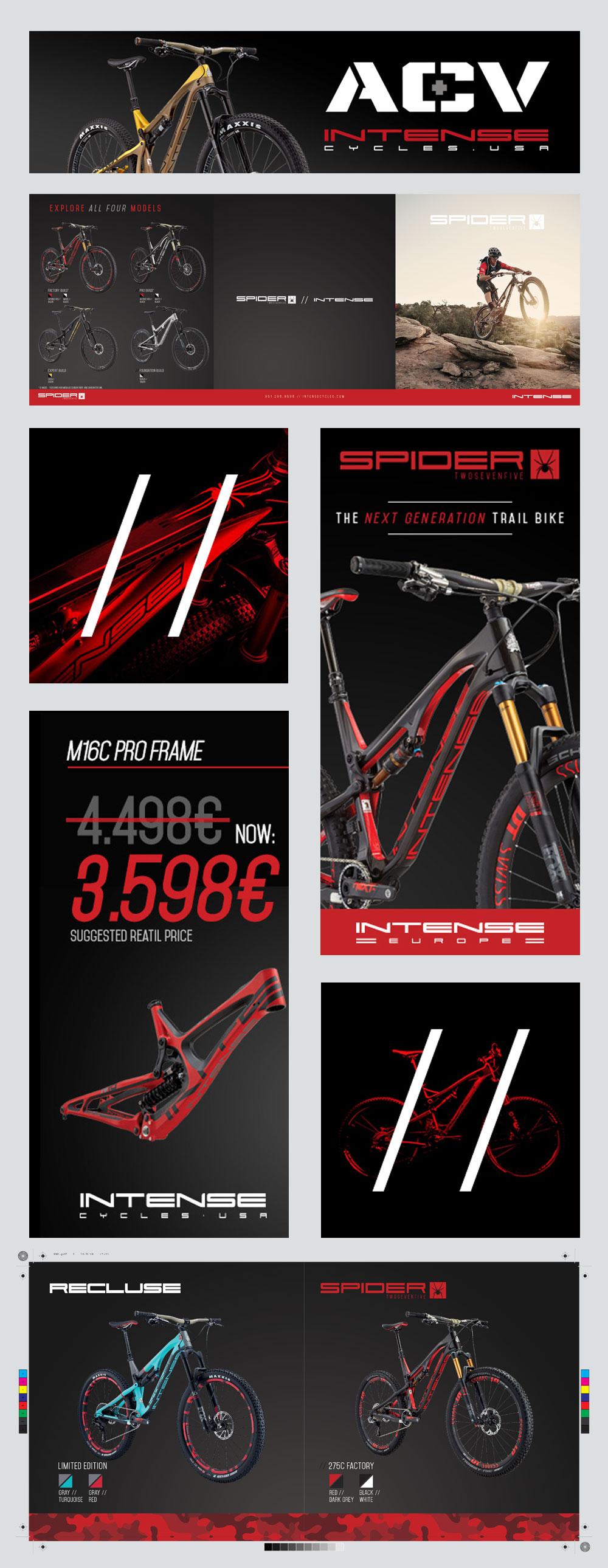 Varios ejemplos de diseño gráfico para Intense Cycles desde Òndia Brand Marketing en Barcelona