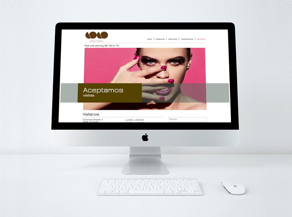 Mock up web de la página de contacto de Coco Centro de belleza en La Coruña