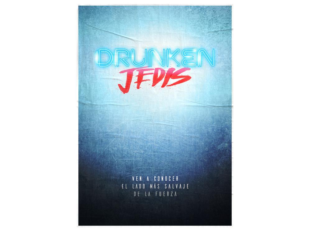 Diseño gráfico para Drunken Jedis. Cartel y logotipo.