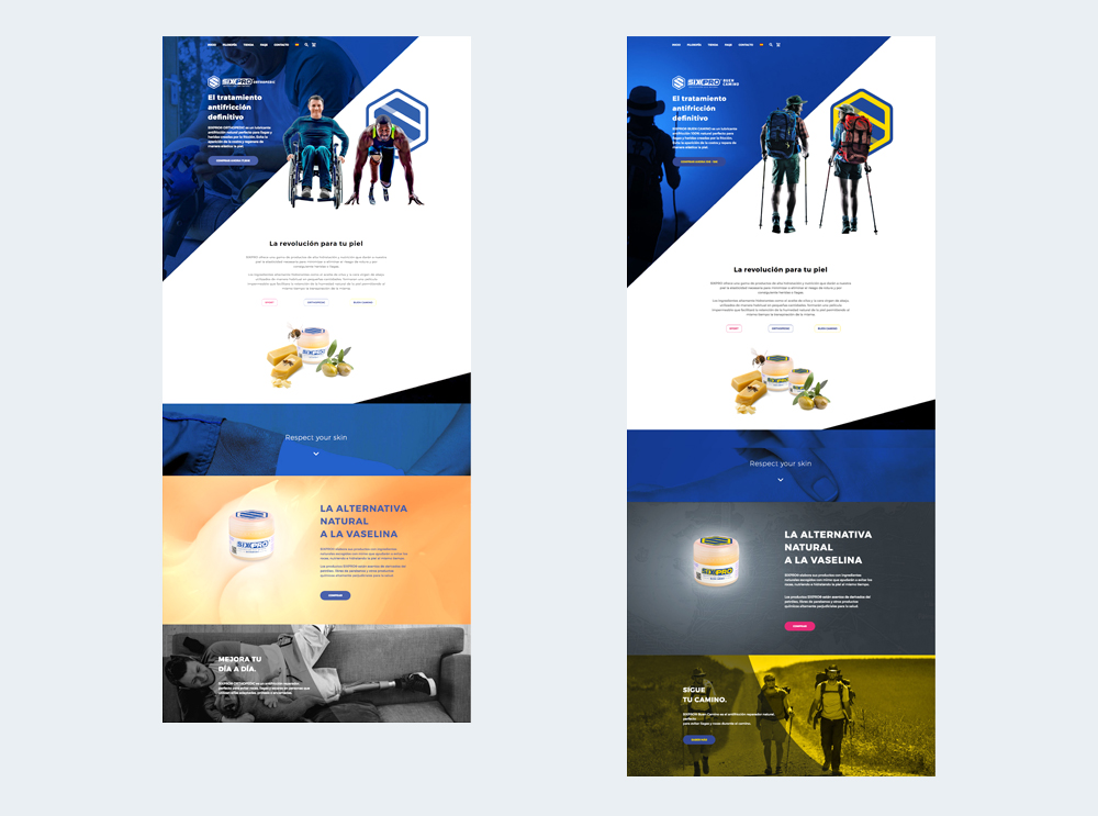 Diseño de website y diseño gráfico para Sixpro®. Apartados Buen Camino y Prótesis