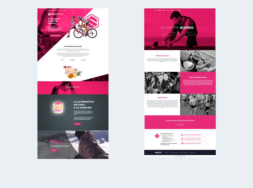 Diseño de website y diseño gráfico para Sixpro®. Apartado producto base y página filosofía