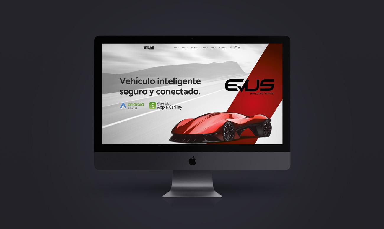 Mock up de pagina web para cliente. EVUS tech diseñado por Lois Iglesias diseañdor gráfico en Barcelona