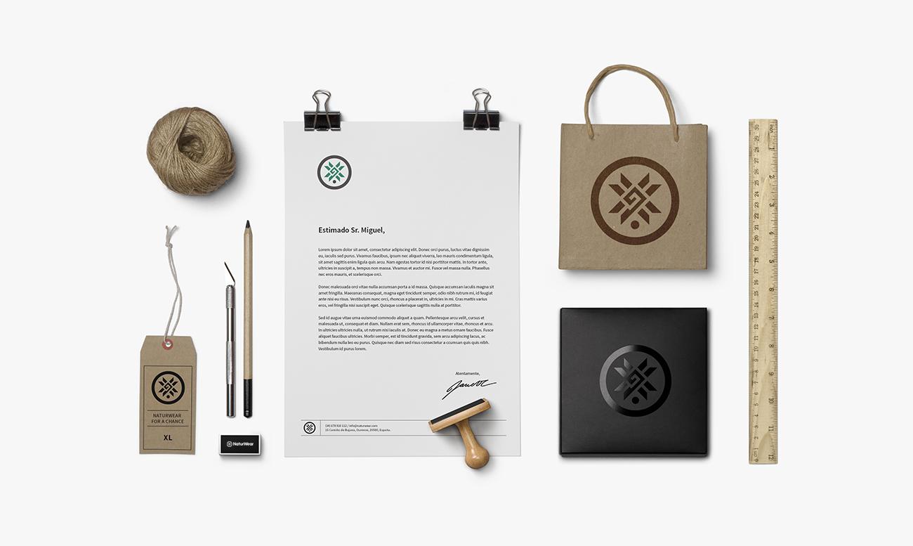imagen corporativa para empresa de ropa ecologica Bolsas, etiquetas, documentación interna