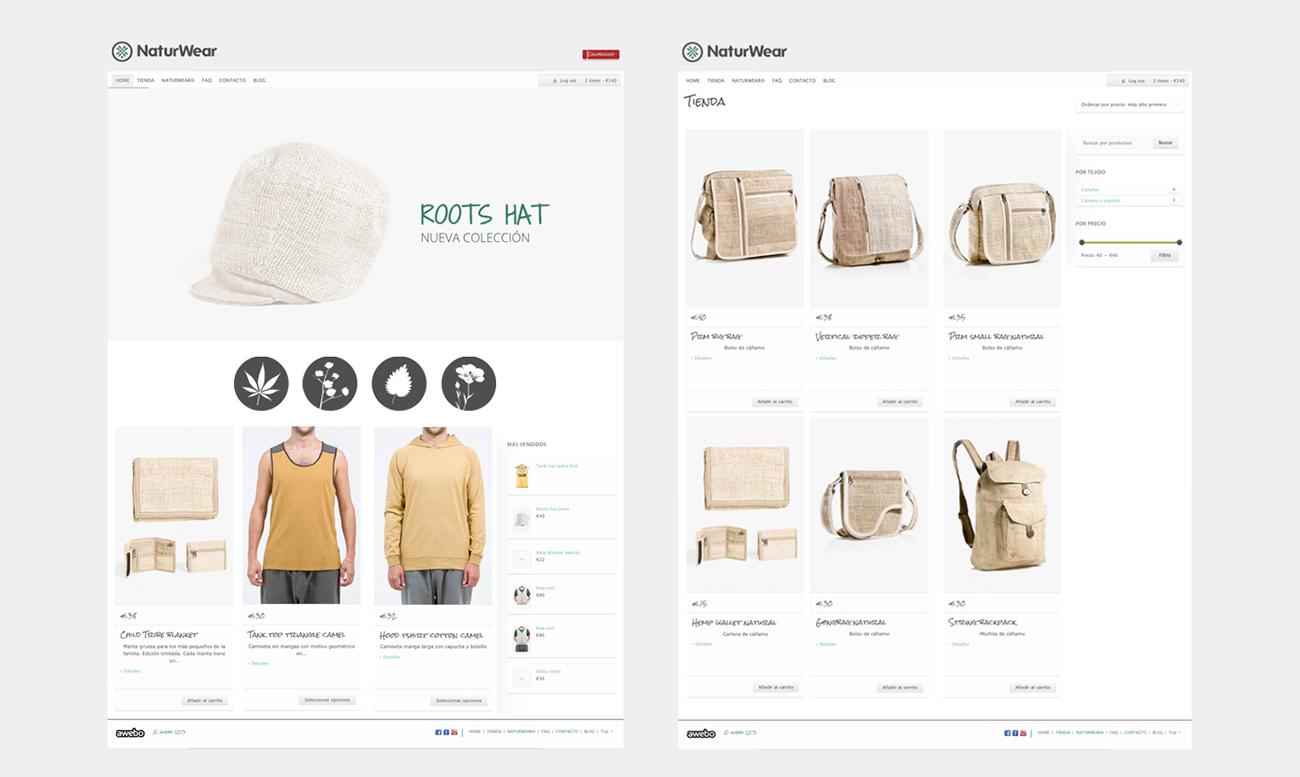Diseño front-end de la web naturwear.com