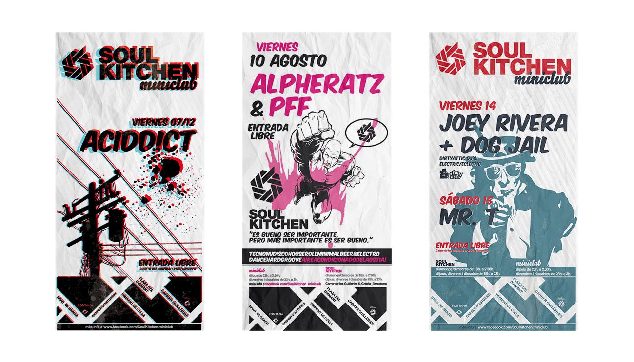 Más flyers para Soul Kitchen Miniclub en Barrcelona. Como diseñar un flyer cool.