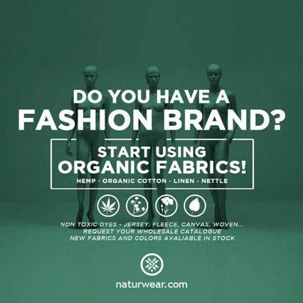 banner anuncio para nuevos diseñadores interesados en tejidos orgánicos