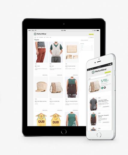 Vista del aspecto de la web en tablets y teléfono.