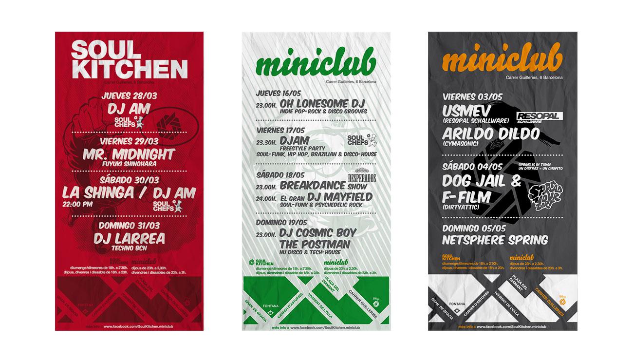 3 flyers para Soul Kitchen_miniclub. Diseñados por Kokotxanel