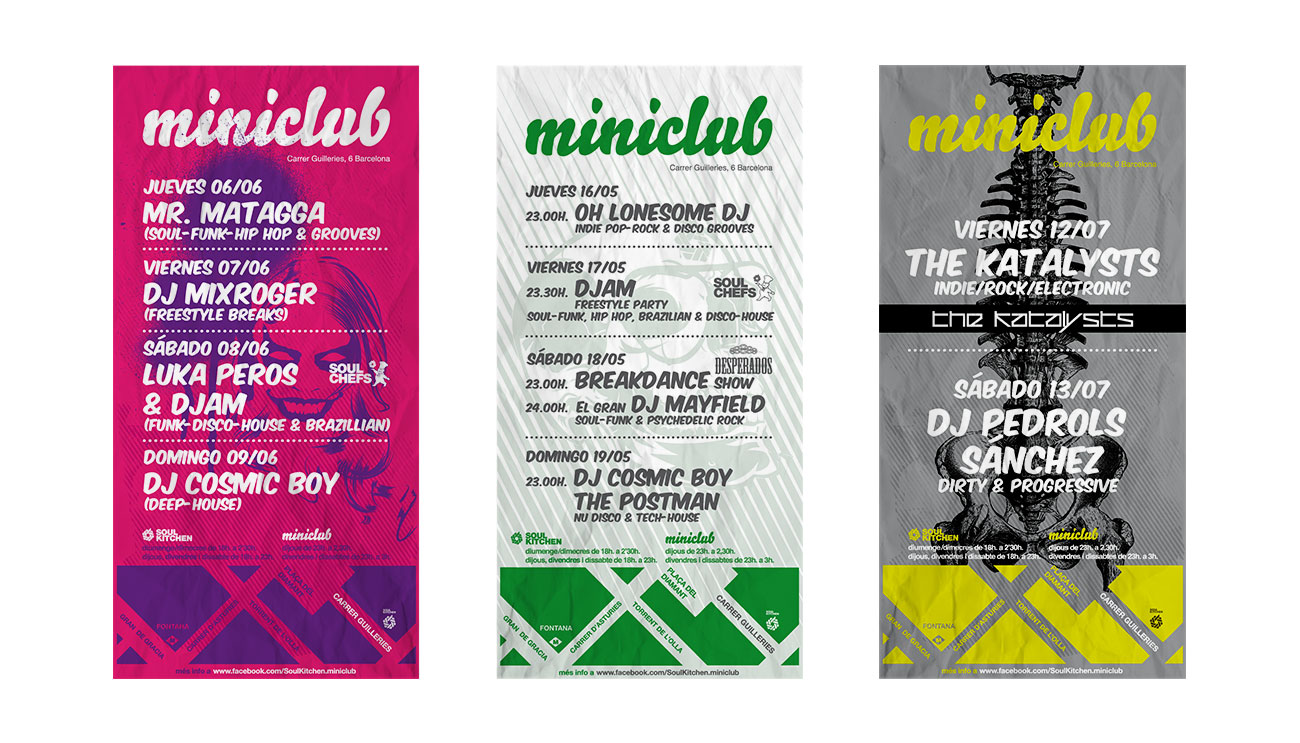 Diseño con Illustrator de varios flyers. Conciertos, Djs y proyección de películas de culto con debate en Soul Kitchen_miniclub