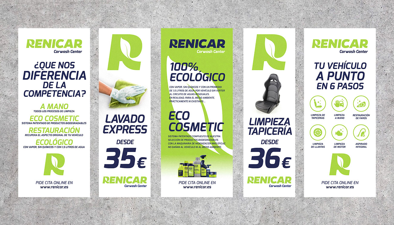 Varias lonas con anuncios y mensajes corporativos para Renicar en Montmeló