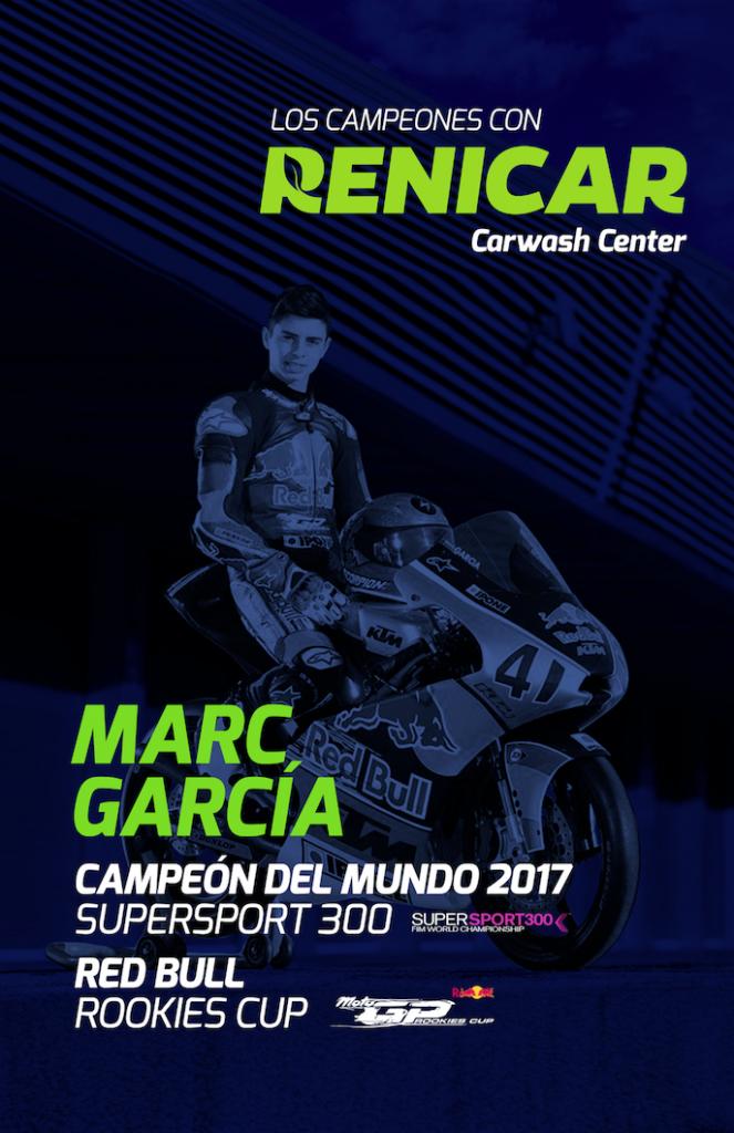 Diseño de poster gigante promocional con Marc Garcia campeón del mundo de moto 300