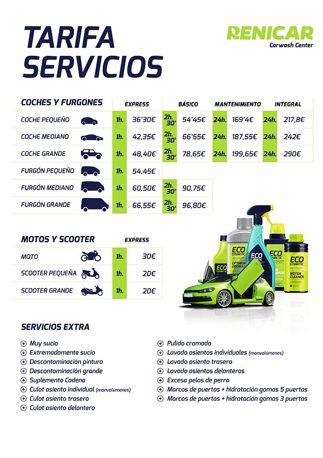 Diseño de la tarifa de precios para centro de lavado ecológico Renicar