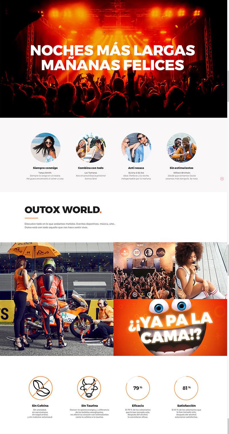 Parte del diseño web one page con video corporativo, opiniones de consumidores y Outox world con noticias sobre eventos outox
