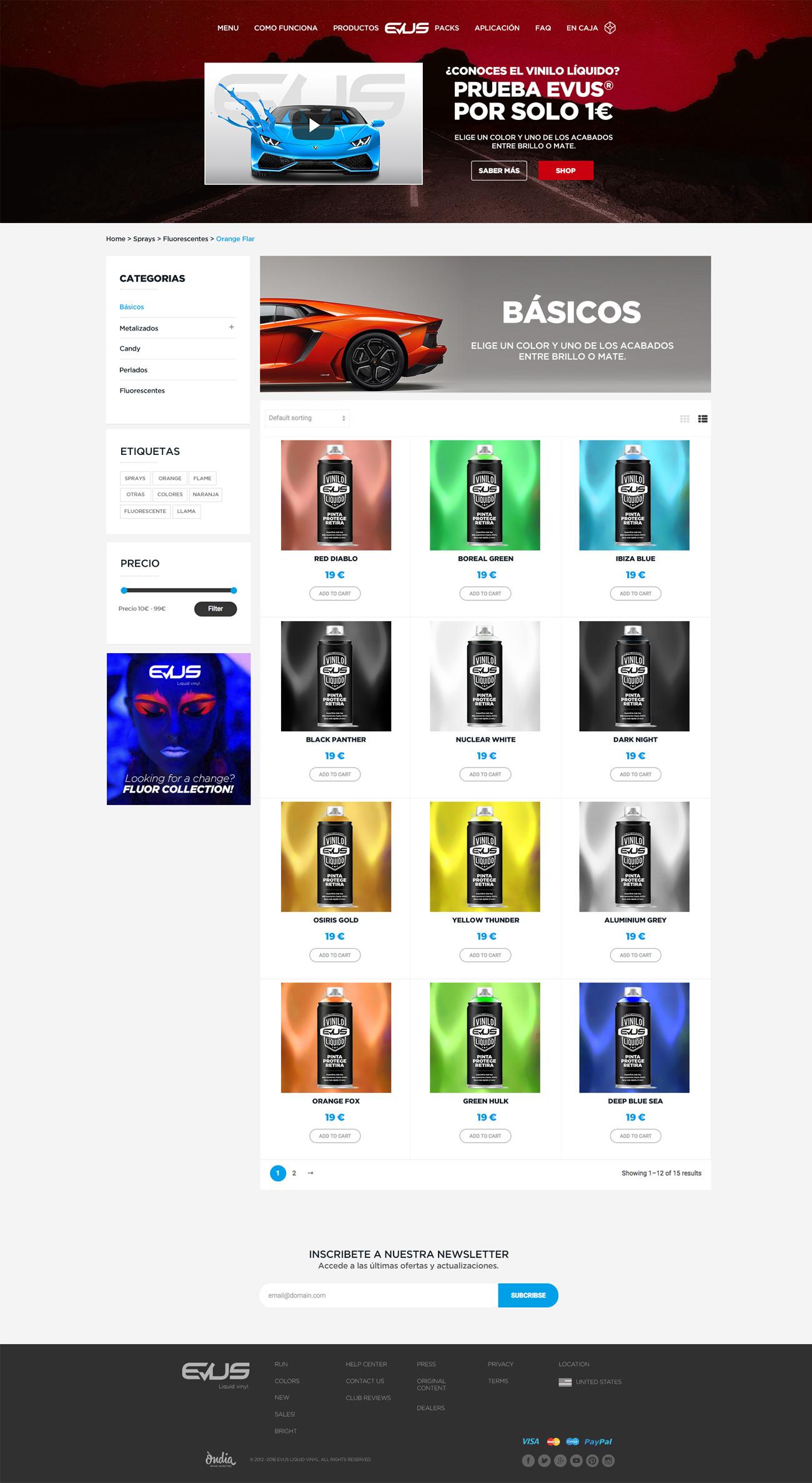 Vista general de una categoría de productos dentro de la web