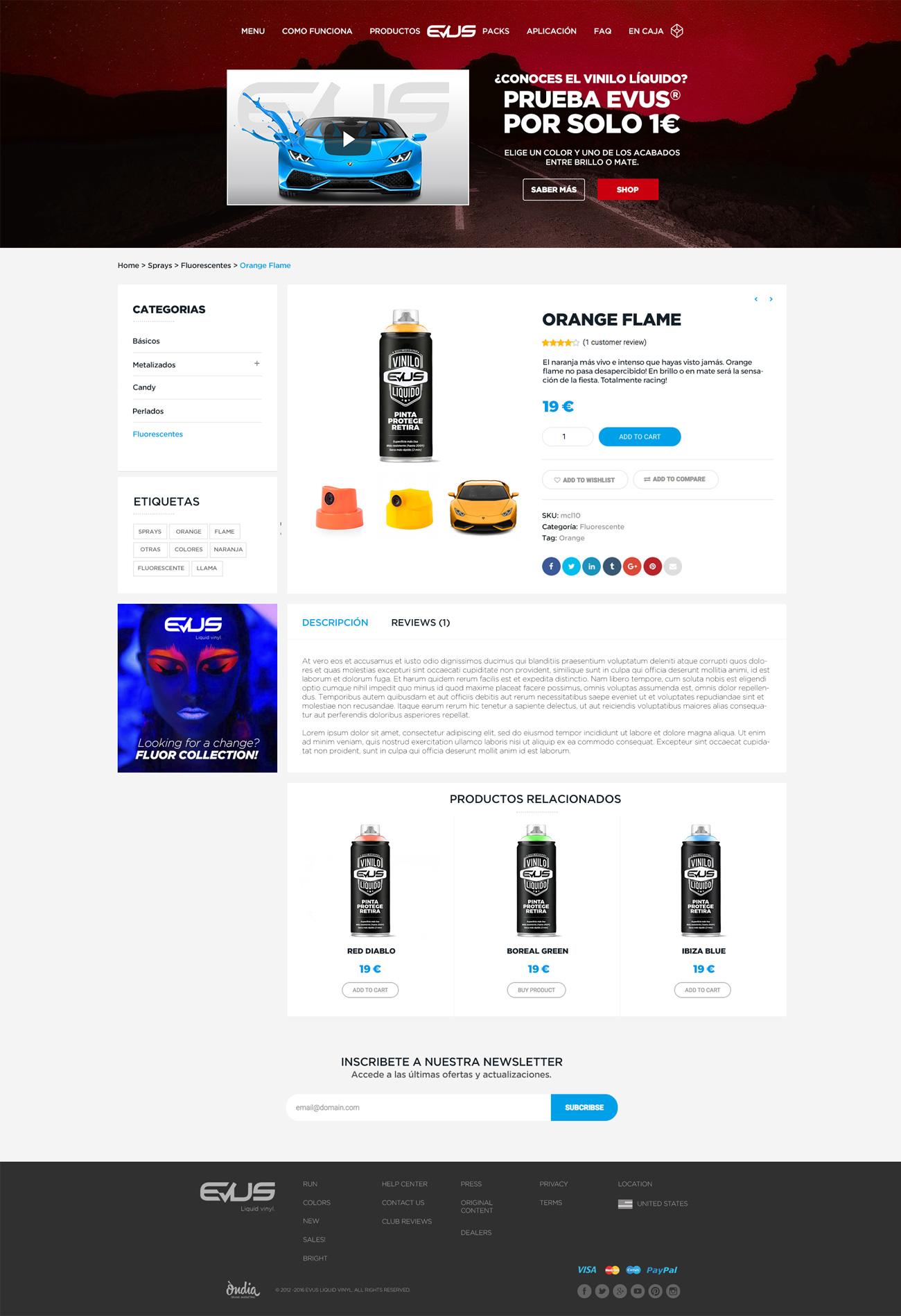 pantalla de producto con botón con banner publicitario y descripción.