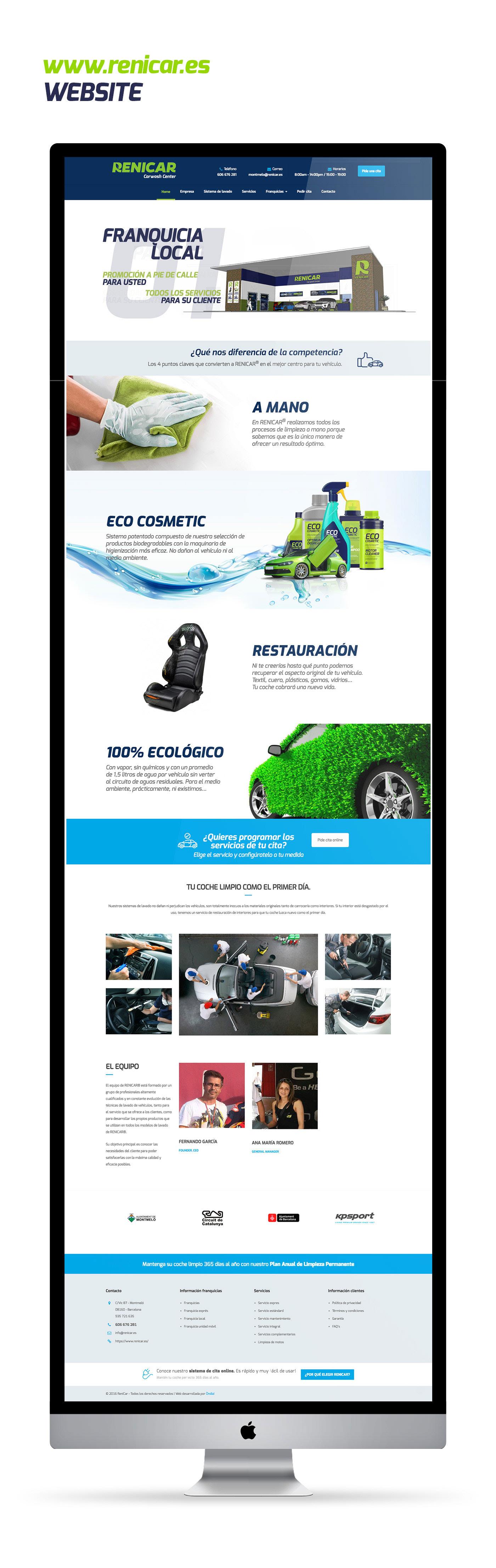 Vista onepage de la pagina web de Renicar