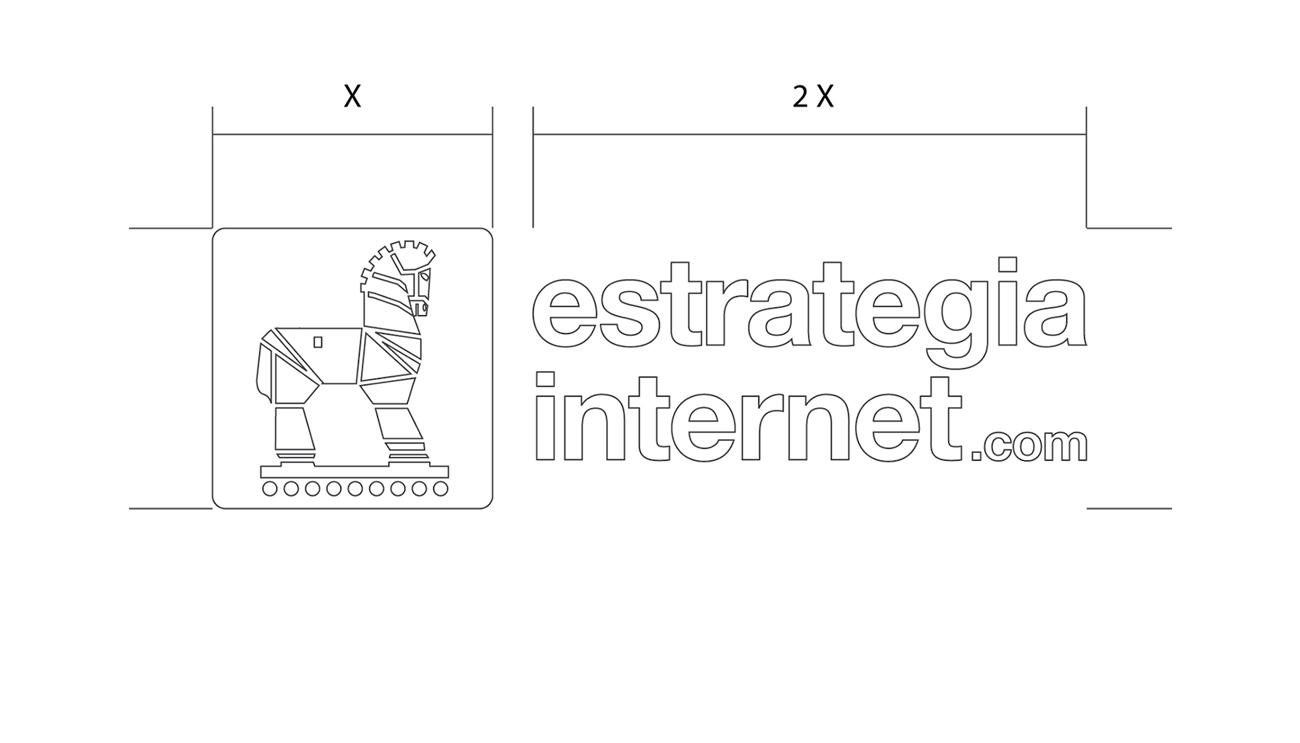 Esquema proporcional acotado en valores del logotipo con márgenes de respeto.